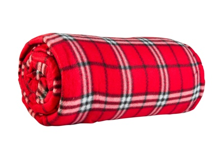 fleece: red fleece blanket in cage, isolated