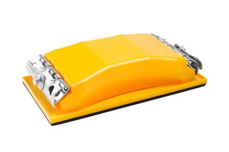 sanding block: yellow sander, sandpaper tool, isolated