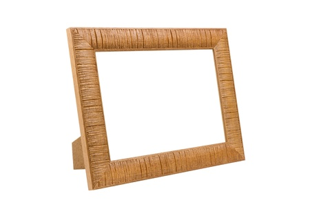 wooden picture frame, isolated