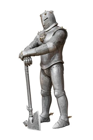 medieval knight: medieval knight, armor and weapon (axe)