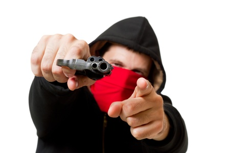man holding gun: man with gun, gangster, focus on the gun Stock Photo