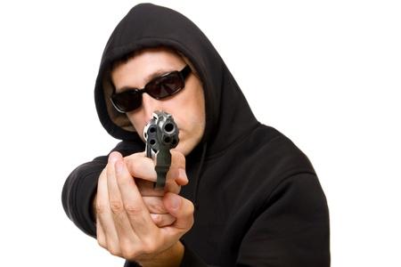 hombre disparando: el hombre con la pistola, gángster, se centran en la pistola