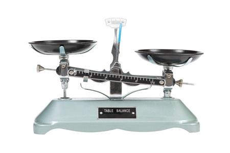 balanza en equilibrio: Antigua balanza dos sart�n, aislados
