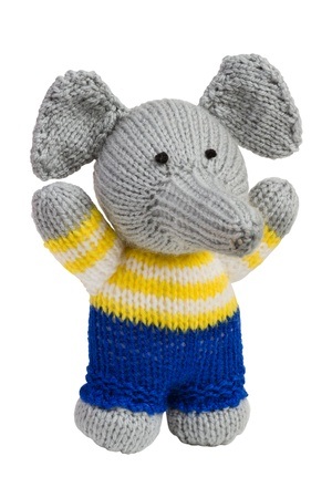 sock puppet: Handmade knit toy, elephant, isolated