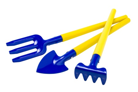 garden tools: spade, rake, fork, isolated  Stock Photo - 11233610