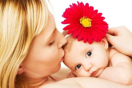 beautiful loving mother kissing baby girl, mother photo