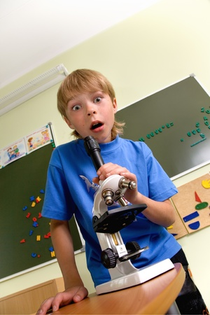eyepiece: Boy with microscope