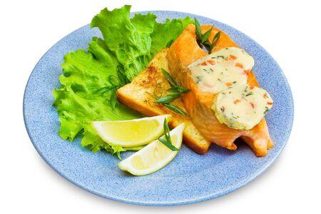 slice of salmon, toast, lemon, butter, lettuce on plate, isolated photo
