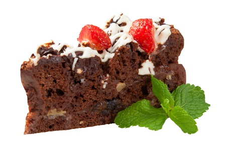 Beautiful Chocolate Cake With Strawberries Prunes Dessert Stock