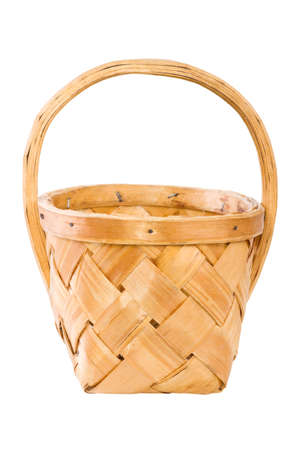 wooden basket: basket  from birch bark, isolated