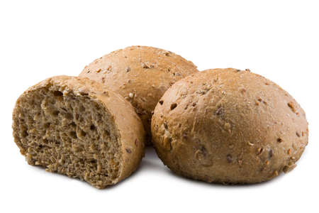 bap: rye wholemeal buns with seeds on white background