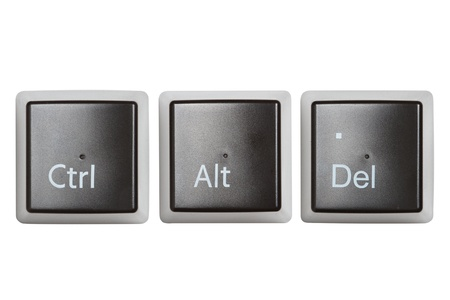 del: Ctrl, Alt, Del keyboard keys, top view  isolated on white Stock Photo