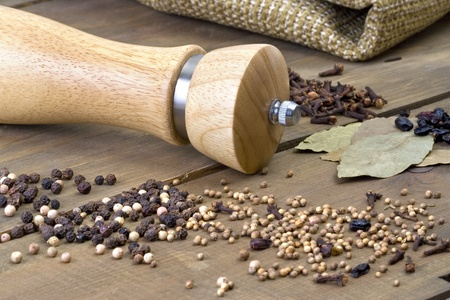 Spice and pepper mill on the wooden table