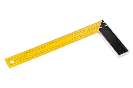 Iron Ruler with angle bar, set square, isolated on a white background