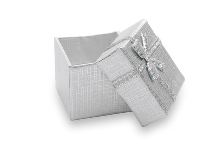Silver gift  box for jewelry  decorated with bow ribbon, isolated photo