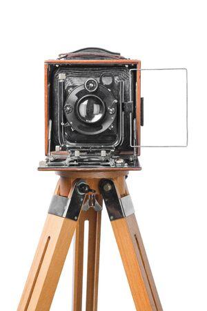 folding camera: vintage retro photo camera, isolated on white background