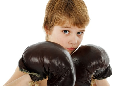 boy boxing: Young Boy Boxer with Boxing Gloves on white Stock Photo