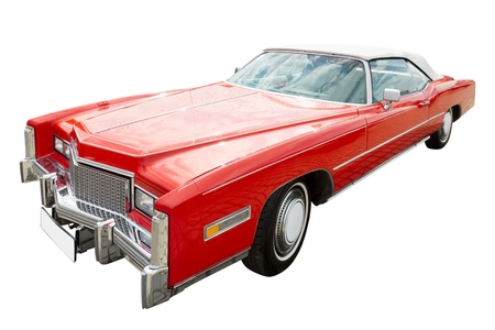 cabriolet: red classic cadillac car, cabriolet, isolated