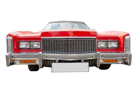 red classic cadillac car, cabriolet, isolated, front view Stock Photo