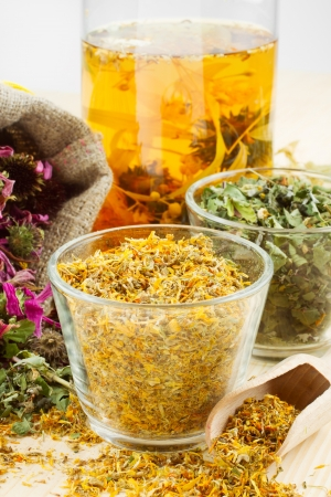 healing herbs and healthy tea on wooden table, herbal medicine Stock Photo - 14118548
