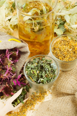 healing herbs and healthy tea on wooden table, herbal medicine Stock Photo - 14118550