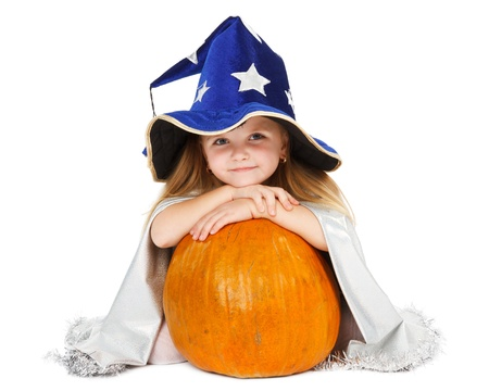 happy halloween: girl in blue witch Stock Photo