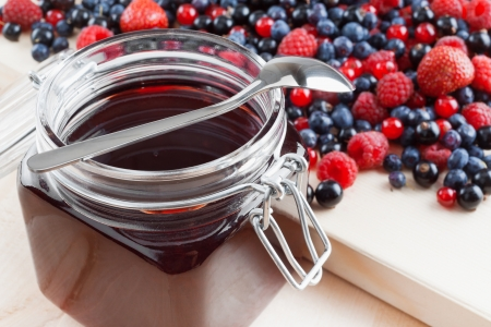 redcurrant: jelly from summer berries  redcurrant, blueberries, raspberries, black currant, strawberries Stock Photo