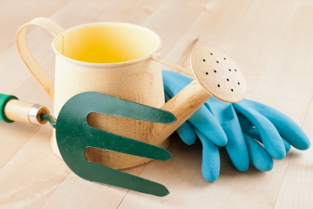 Gardening tools watering can, garden fork, rubber gloves on wooden background photo