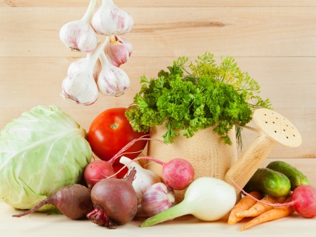 Different summers vegetables on table  Stock Photo - 16483332