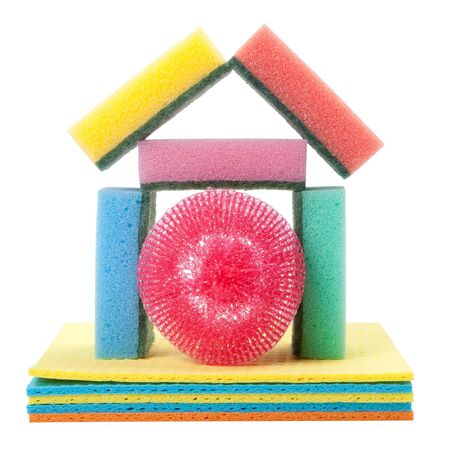 home from dish washing sponge, dishcloth, scrub pad, isolated photo
