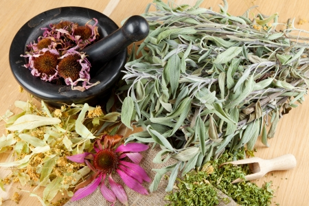 wild mint: healing herbs on wooden table, mortar and pestle, herbal medicine, top view Stock Photo