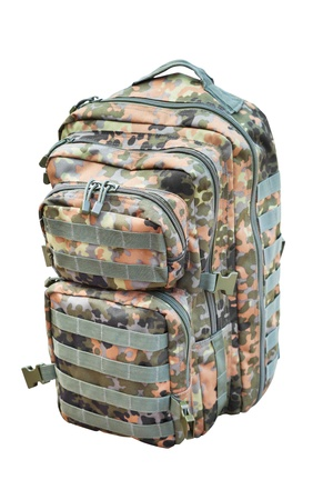 camouflage backpack isolated on white photo