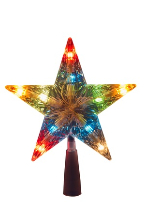 topper: illuminated Golden Christmas star, topper to be placed in the top of the tree, isolated on white Stock Photo
