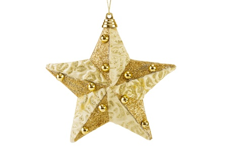 star ornament: golden Christmas star decoration for hanging on tree, isolated on white
