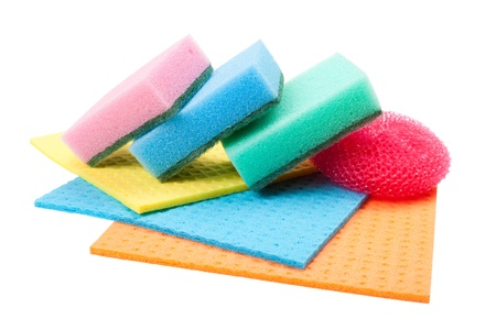 dishcloth: dish washing sponge, dishcloth and scrub pad, isolated Stock Photo