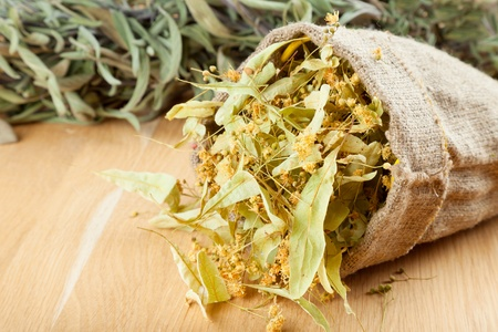 linden flowers in canvas bag on wooden table, herbal medicine Stock Photo - 16577735