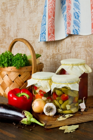 pickled vegetables on kitchen table