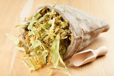 linden flowers in canvas bag on wooden table, herbal medicine Stock Photo - 16688829