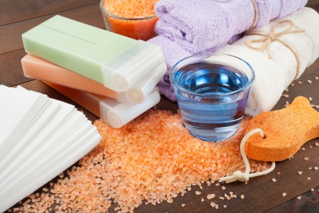 Body care accessories  wax for hair removal, towels, sea salt, soap,pumice stone