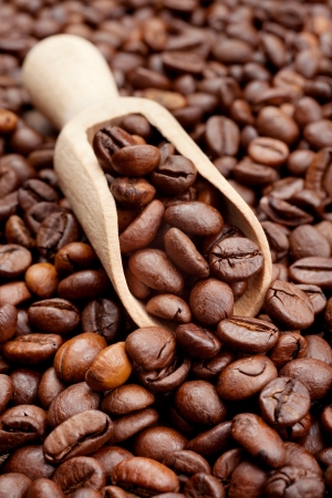 coffee beans and wooden scoop photo