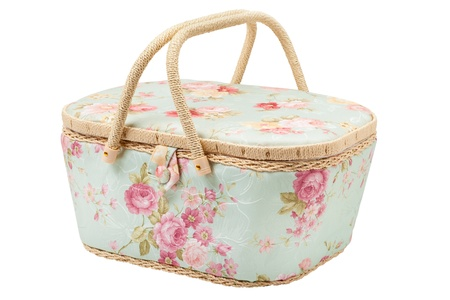basket embroidery: basket for storage of accessories for sewing, silk case for needlework utensils, isolated Stock Photo