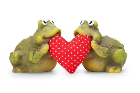 Cute happy Frogs in love with heart photo