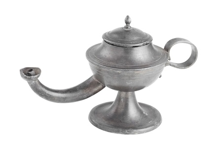 Arabic oil lamp, lamp of Aladdin, isolated on white photo