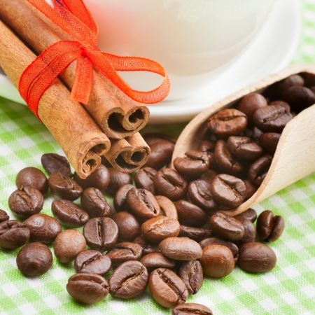 coffee cup, cinnamon sticks and coffee beans on kitchen table photo