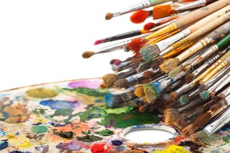art brushes on artist palette Stock Photo - 17707285