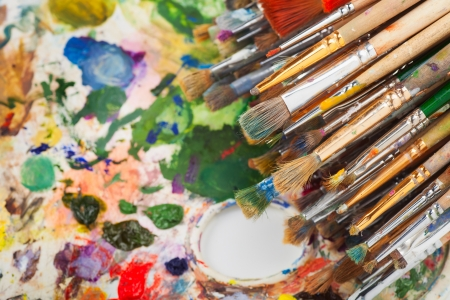 art brushes on artist palette Stock Photo - 17707287