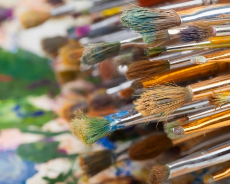 art brushes on artist palette Stock Photo - 17707292