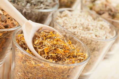 healing herbs in glass cups and wooden spoon, herbal medicine Stock Photo - 17998737