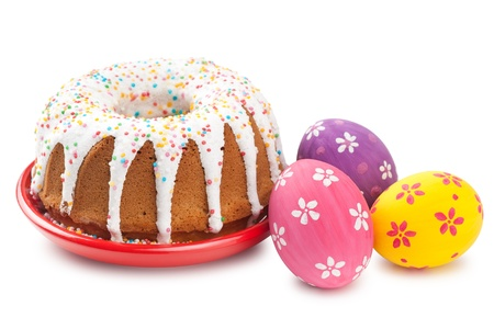 easter cookie: easter cake and colorful eggs on white