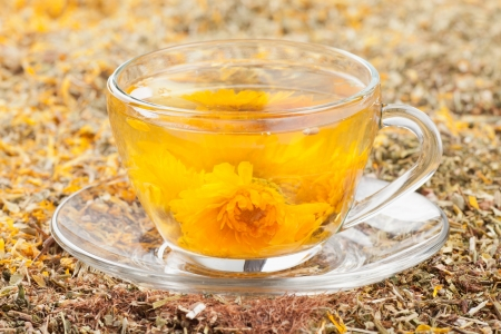 cup of herbal tea and healing herbs Stock Photo - 19449960